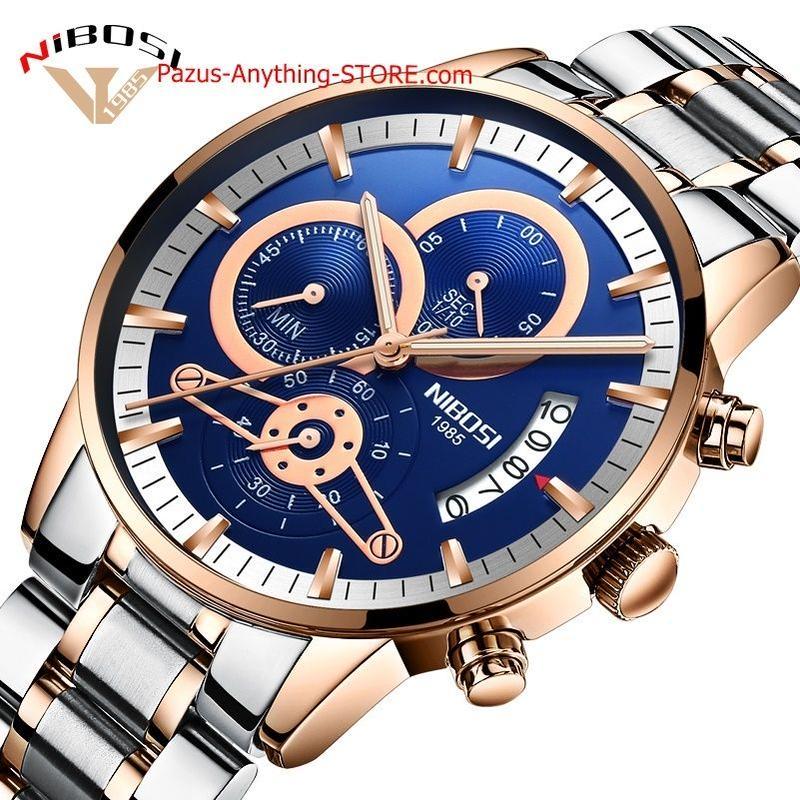 高級メンズ腕時計 ステンレス鋼 スポーツ時計 ゴールド男性腕時計 1743 9/25
