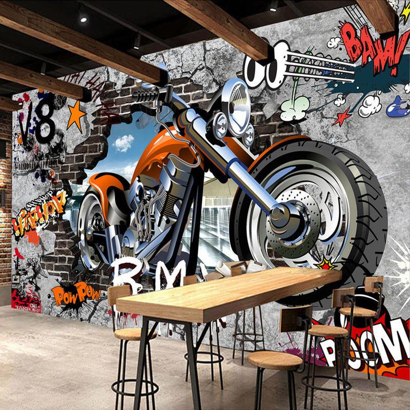 カスタム壁画 壁紙 オートバイ ストリートアート 落書き壁画 リビングルーム 530 7/17