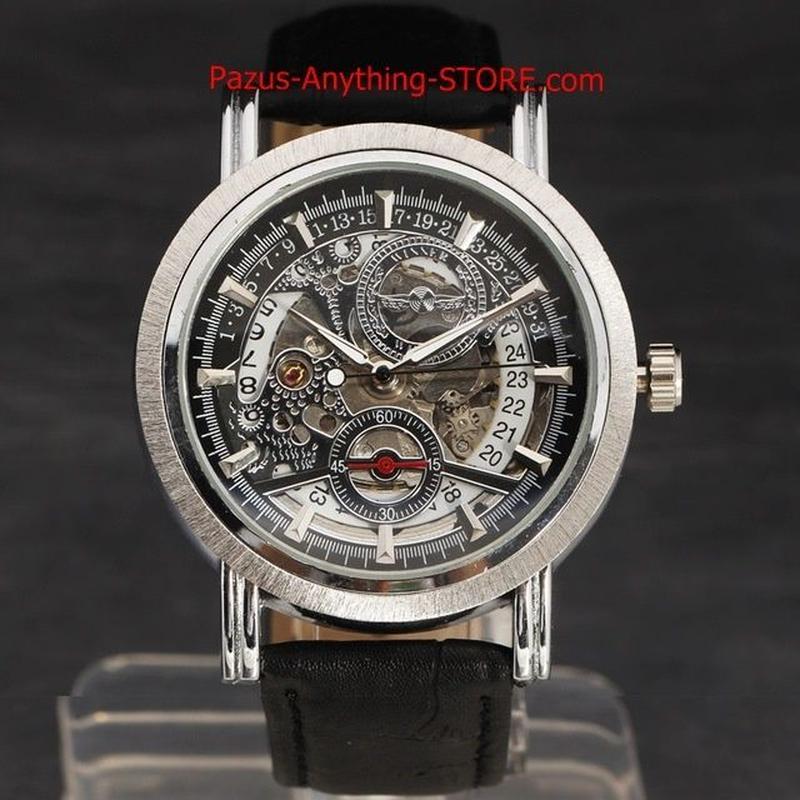腕時計 男性高級ブランド 腕時計 サークルダイヤル レザーストラップ軍事メカニカルスケルトン腕時計 1722 9/25