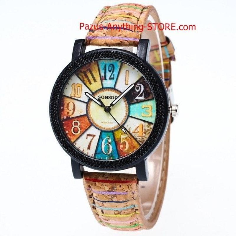 原宿 落書きパターン腕時計 女性 男性 ヴォーグレザーアナログクォーツ腕時計 レディース レトロ 1766 9/25