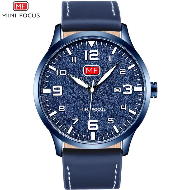 MINIFOCUS メンズクォーツスポーツ腕時計 日付時計メンズ腕時計 ブランド 男性ブルーレザー軍事時計 48