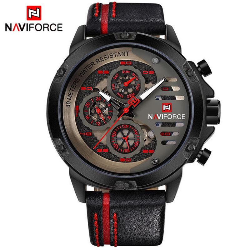 Naviforce 高級ブランド 石英スポーツ腕時計 中空フェイス時計 男性ファッション 防水手首時計 45