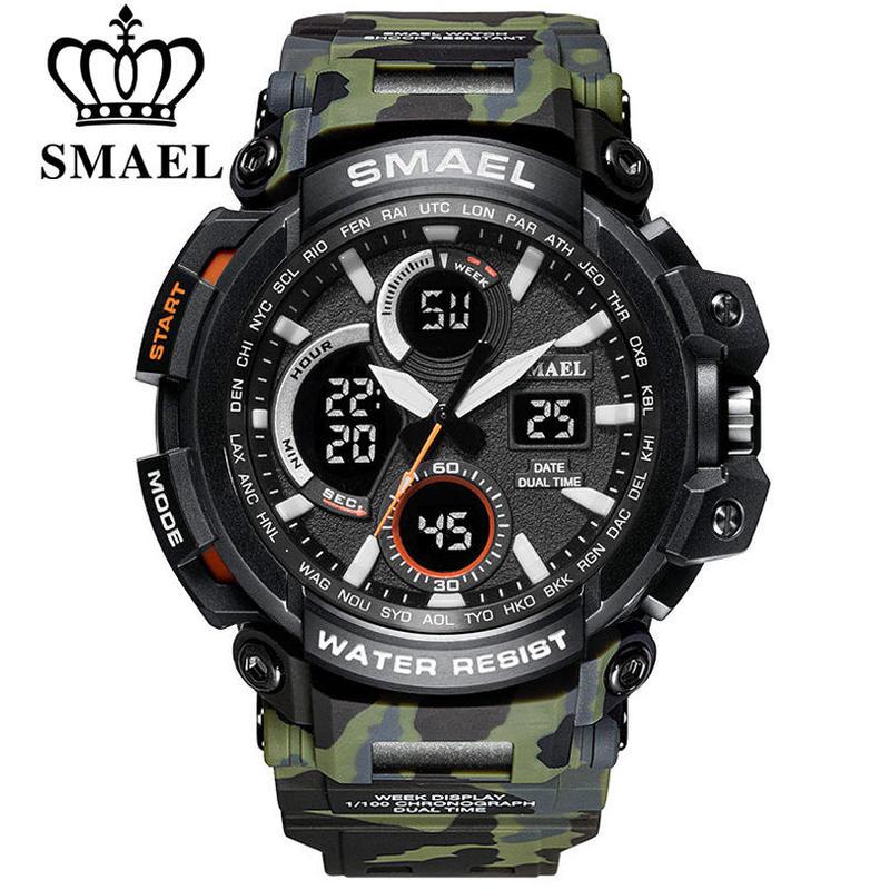 Smael 迷彩ミリタリー腕時計 防水 デュアルタイム表示 メンズスポーツ腕時計 デジタルアナログクォーツ時計 64