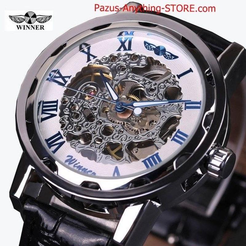 ブラックスケルトン ブルー彫刻時計 男性 革ストラップメンズ 腕時計 1751 9/25