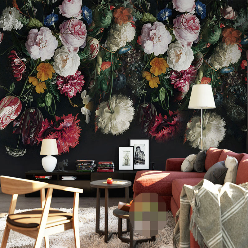 3D 壁画壁紙 レトロハンド 塗装花 壁絵画 リビングルーム 寝室 ホーム壁画 531 7/17