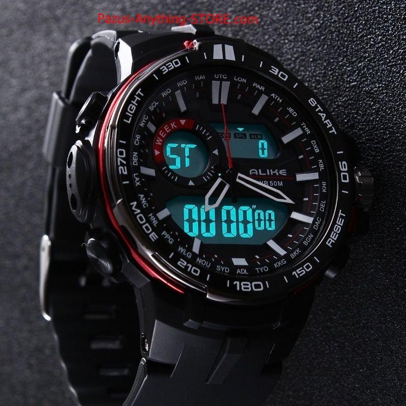 カジュアルウォッチ 男性 防水 スポーツミリタリー腕時計 メンズ デジタルクオーツ時計 1688 9/25