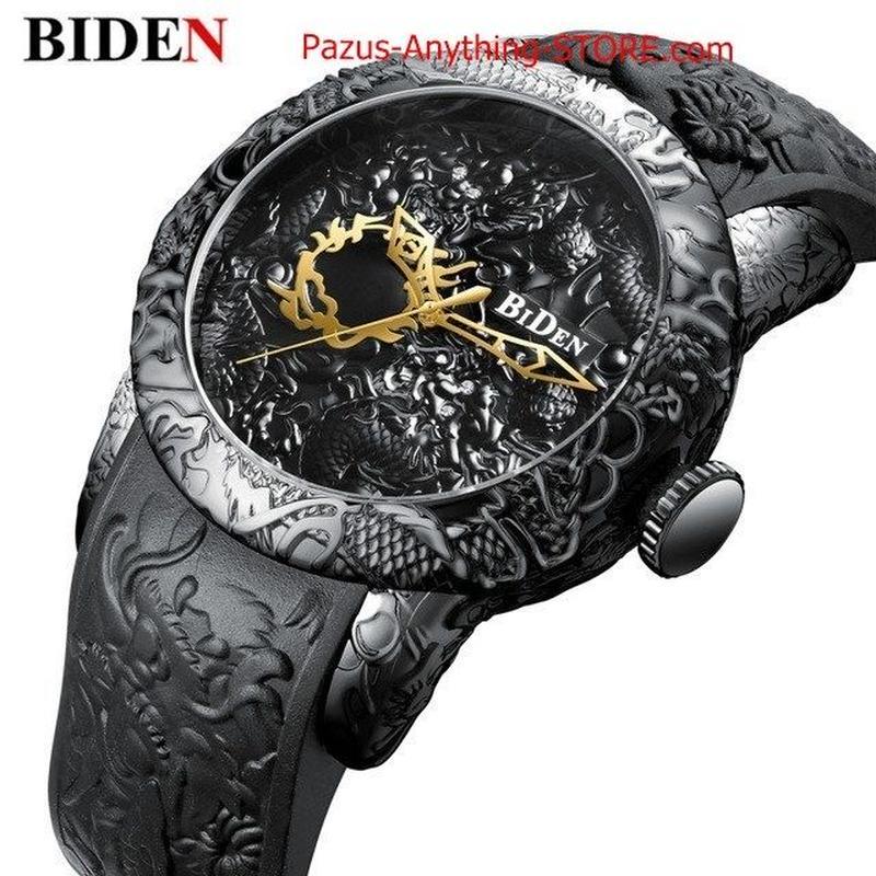 3D 彫刻ドラゴン メンズクォーツ腕時計 ゴールド腕時計 メンズ時計 1753 9/25