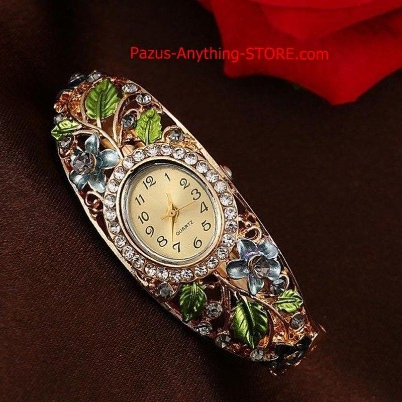 バングル腕時計 ゴールドクリスタルフラワー 女性ブレスレットドレスクォーツ時計 1764 9/25