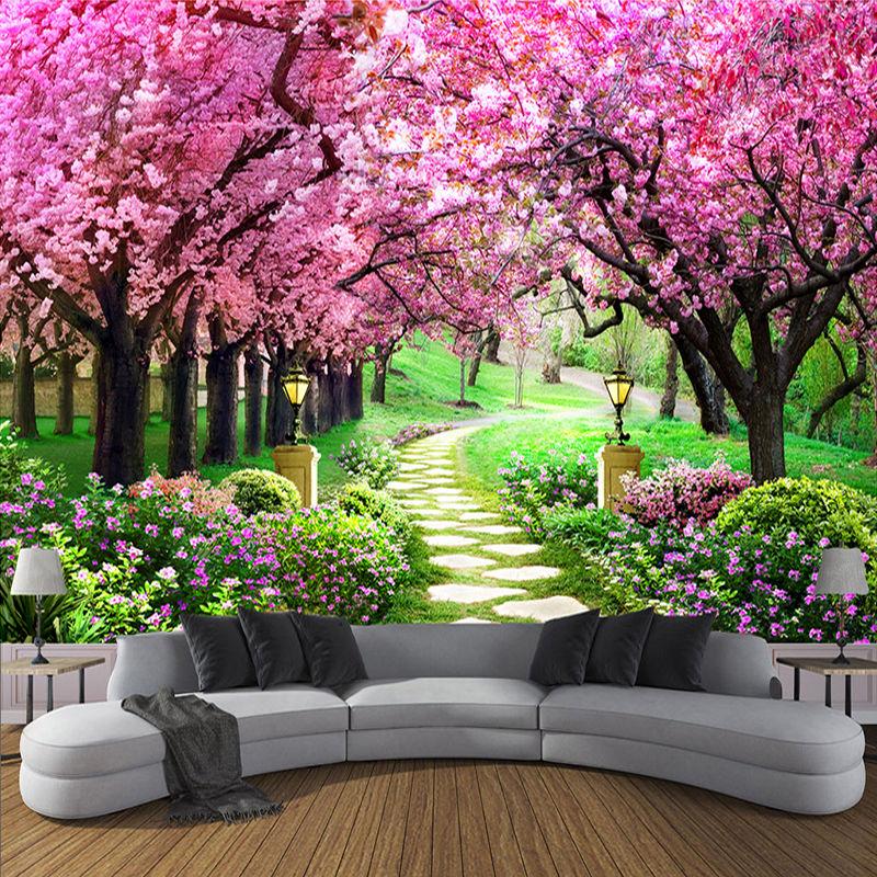 3D 壁紙 花 ロマンチック 桜の木の小さな道路 壁画壁紙 リビングルーム 寝室 528 7/17