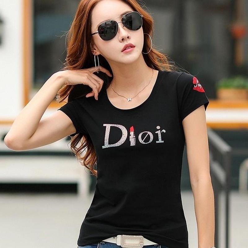 ストレッチ素材★女子力UP♪Dロゴプリント Tシャツ