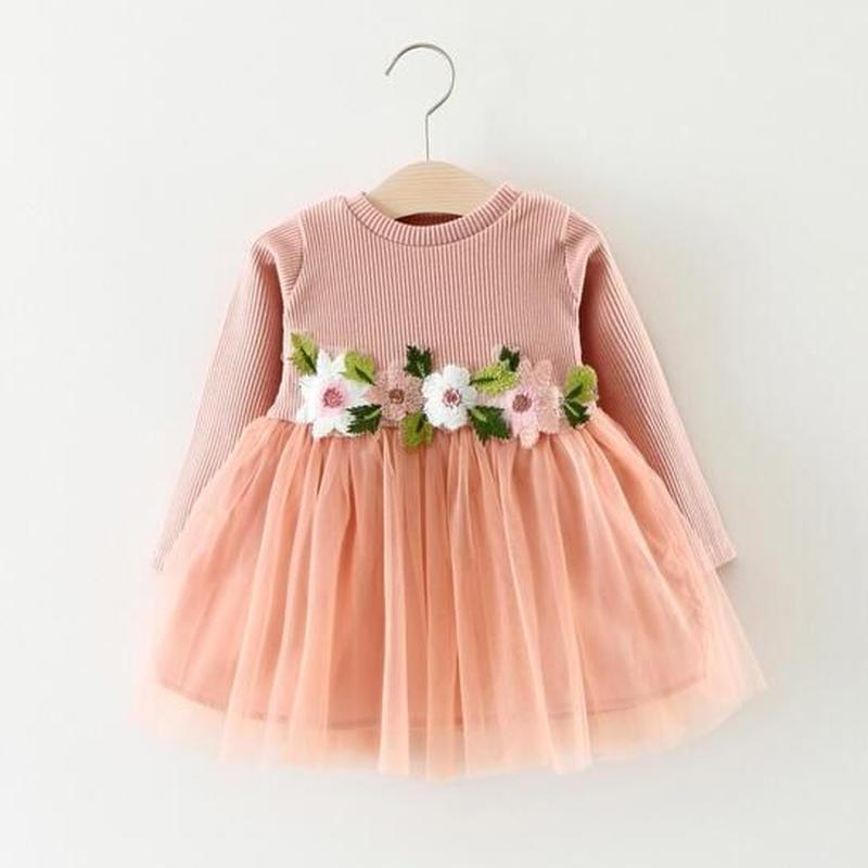 フリルお花ワンピース春秋OKふわふわドレス