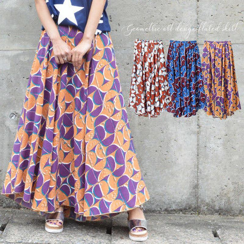 ★新作★かすれタッチ幾何学アート総柄フレアロングスカート★
