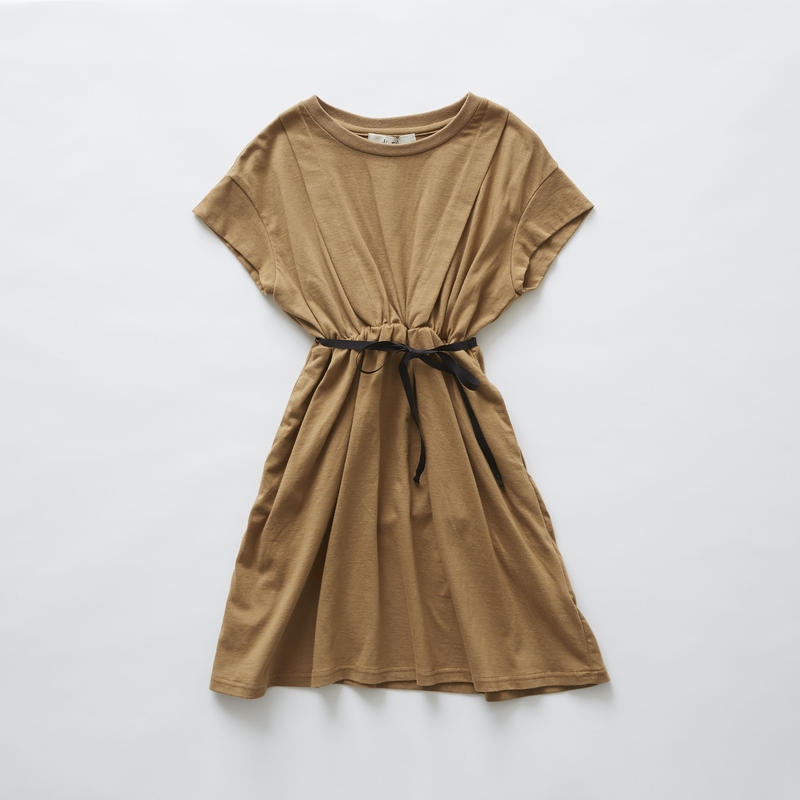 【 eLfinFolk 2019SS 】elf-191J05 waist gather dress / camel