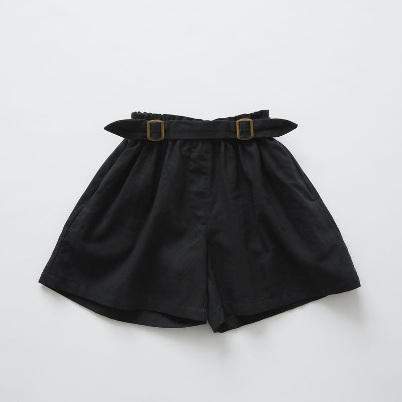 【 eLfinFolk 2019SS 】elf-191F32 linen canvas culotte pants / black