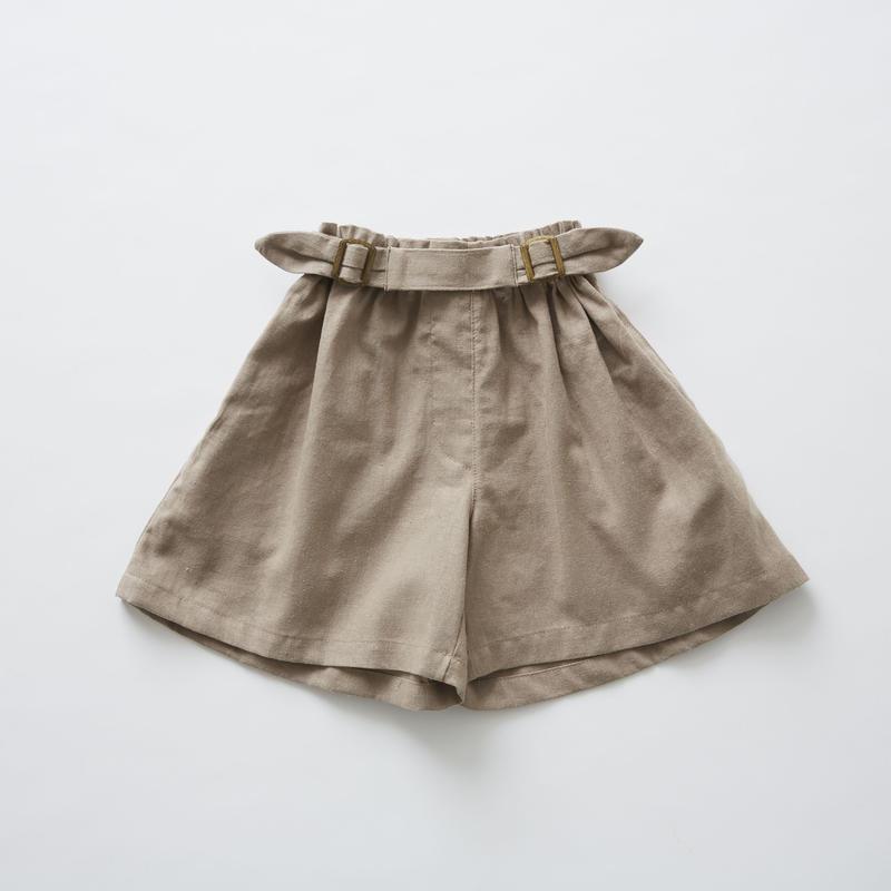 【 eLfinFolk 2019SS 】elf-191F32 linen canvas culotte pants / mocha