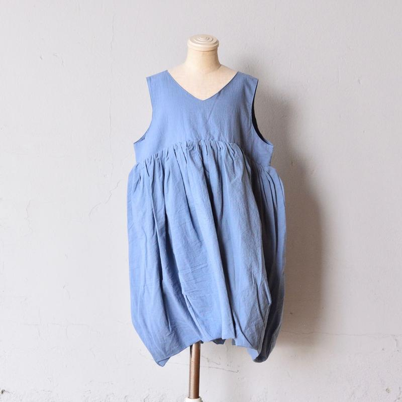 【 franky grow 2019SS 】OP-131 V-NECK DRESS DYED / GRAY / S-L