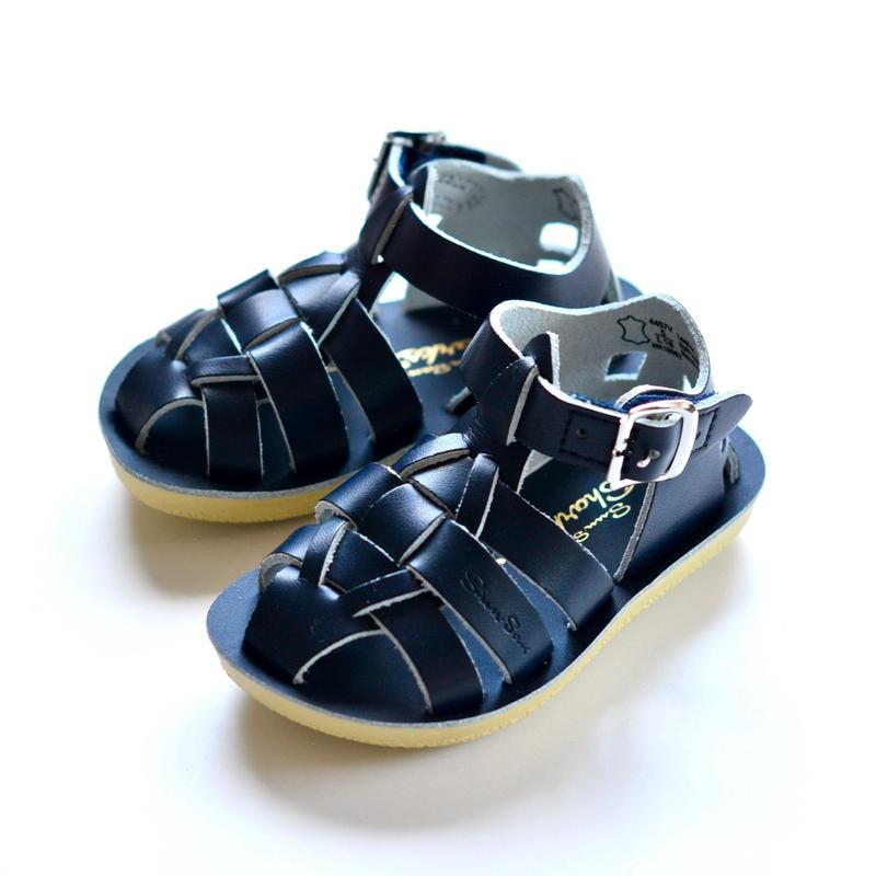 """【 Saltwater Sandals 19SS】 海でも履けるレザーサンダル  / ソルトウォーターサンダル """"Shark"""" / ネイビー / 13 - 19cm"""