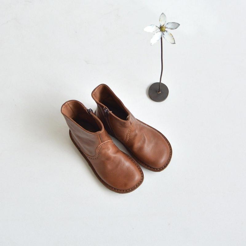 { 特別な一足 }【 Pepe 】 サイドジップ レザーブーツ  / キャメル / 18〜22cm