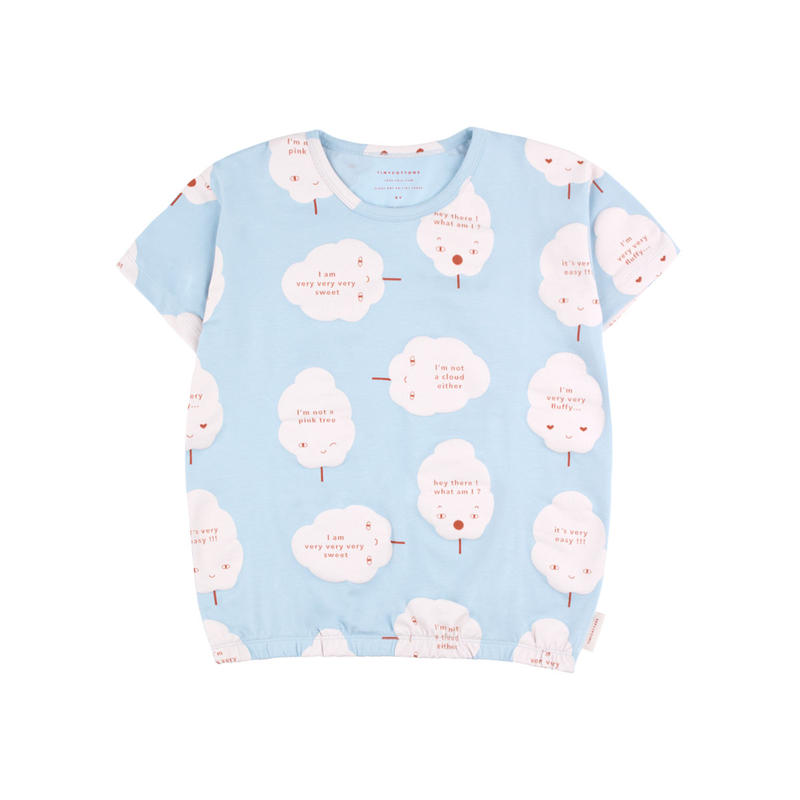 【 tiny cottons 2019SS 】SS19-018 'CANDY FLOSS' SS TEE / mild blue/pearl