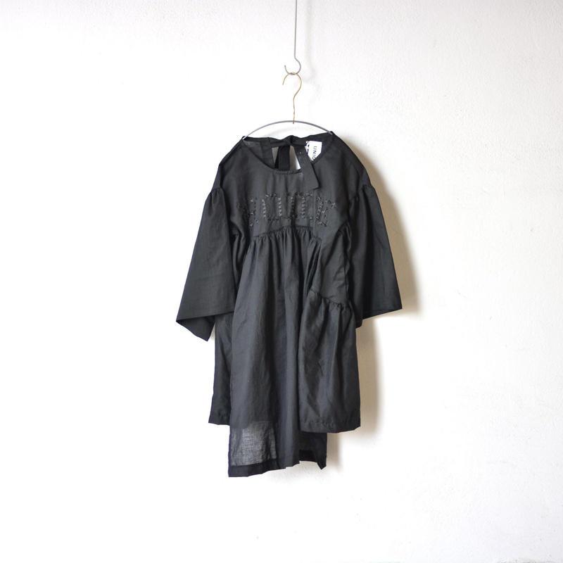 【 UNIONINI 18SS 】 HOME blouse dress / black  / 90〜140cm   (OP-044)