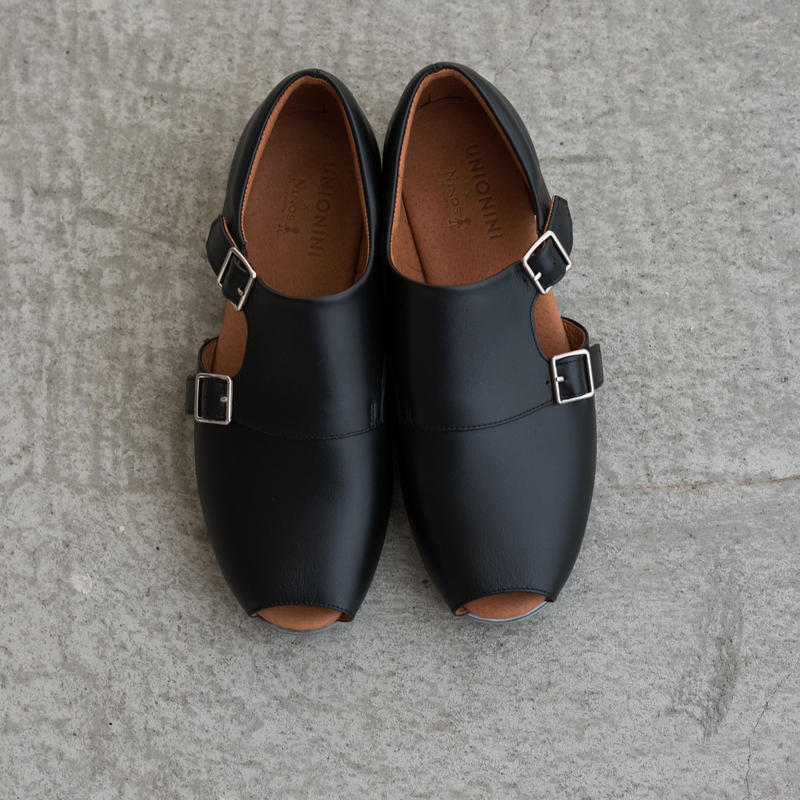 【 UNIONINI 2019SS 】UN02-1 double monk strap shoes / Black  / 20 - 21cm