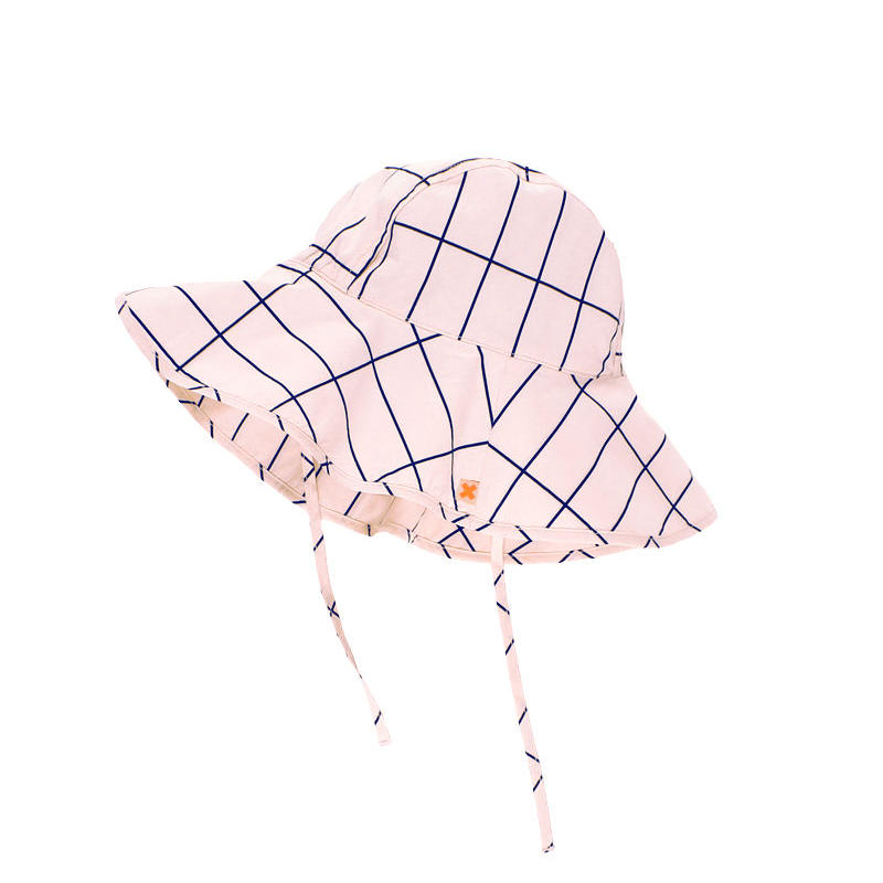 【tiny cottons 2017SS】SS17-222 grid sun hat / pale pink / dark navy
