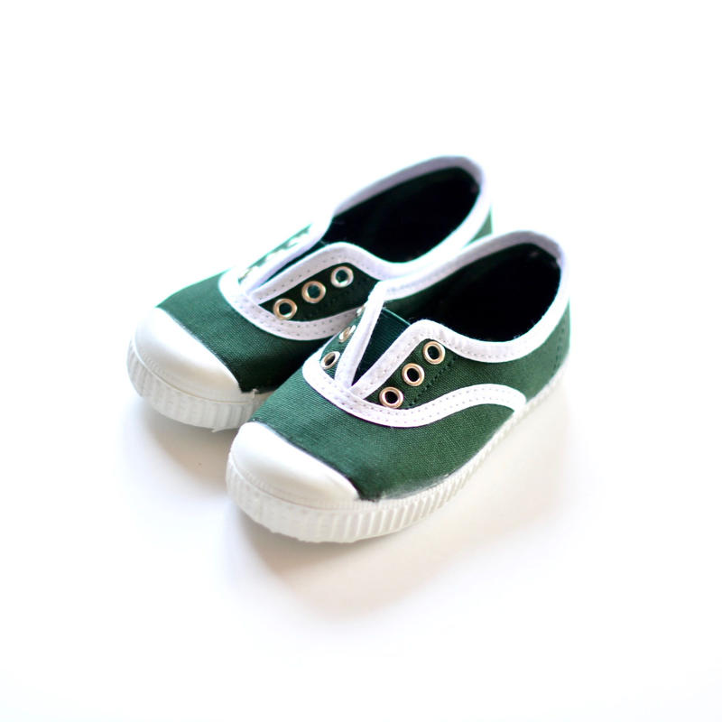 【 La Cadena 2019SS 】 INGLES ELASTICO P  - White Trim  / BOTTLE GREEN / 19〜21cm
