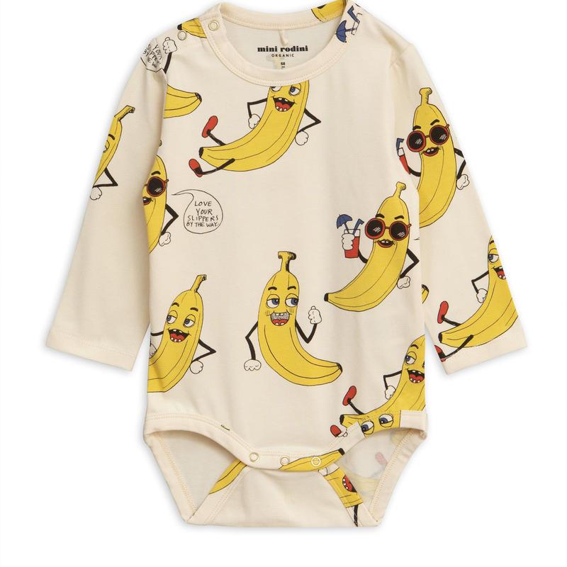 【 mini rodini 2019SS 】40129  Banana aop ls body / Offwhite / 68/74cm