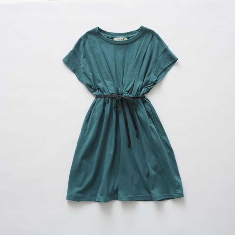 【 eLfinFolk 2019SS 】elf-191J05 waist gather dress / green