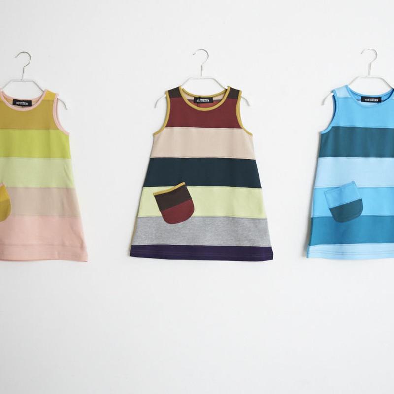 【 STORE 19SS】ボーダー ノースリーブ ワンピースTシャツ / #1〜3 / 90cm