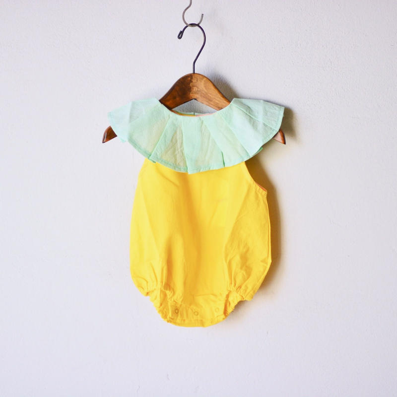 【 franky grow 2019SS 】CS-309 PLEATS COLLAR BODY DYED / YELLOW-MINT / 70-80cm