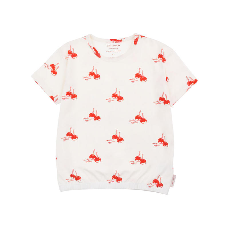 【 tiny cottons 2019SS 】SS19-033 'CANDY APPLES' SS TEE / off-white/red