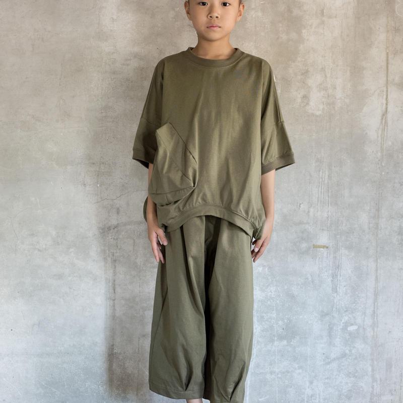 【 UNIONINI 2019SS 】CS-039 ◯△ T-shirt / Kahki  / 10 - 14歳
