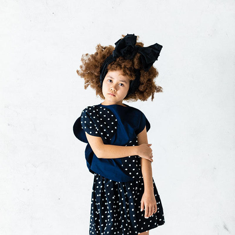 【 franky grow 2019SS 】BT-226 BONBON CUT JQ CUT SWITCHING SKIRT / NAVY*WHITE BONBON / LL