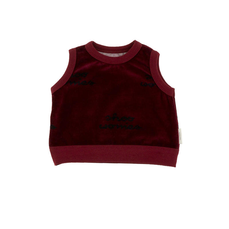 【tiny cottons 2017AW】AW17-130 shoo worries baby vest /  bordeaux / dark navy
