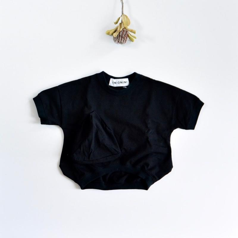 【 UNIONINI 2019SS 】CS-039 ◯△ T-shirt / Black  / 1 - 10歳