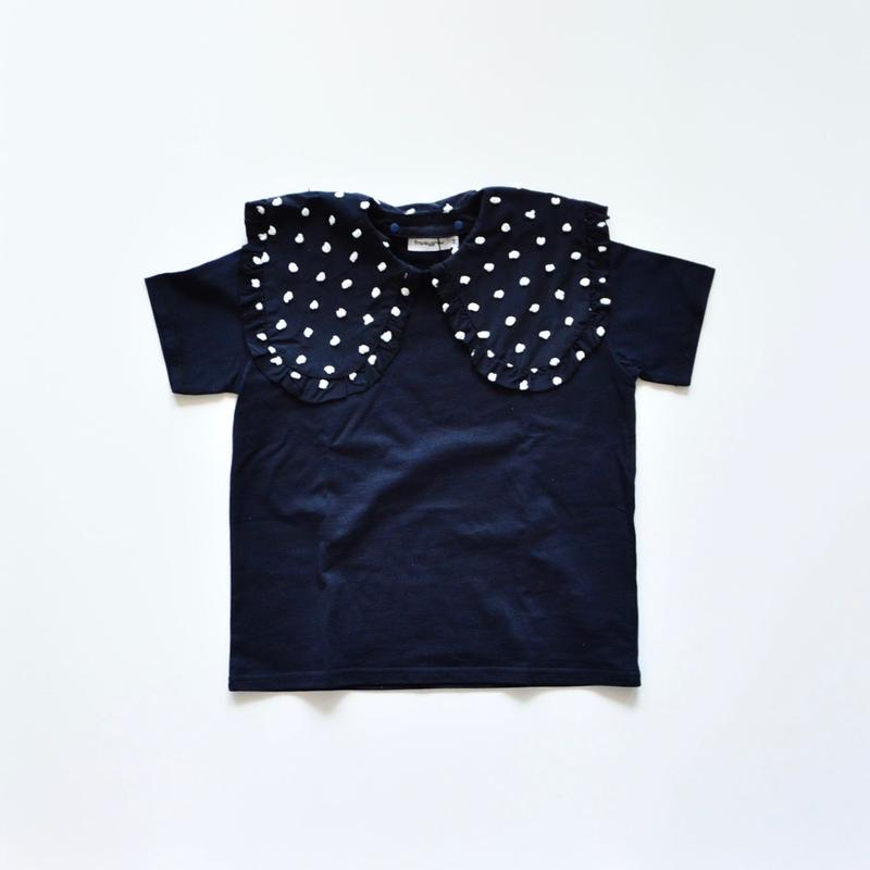 【 franky grow 2019SS 】CS-318 REMOVABLE BIG COLLAR TEE / NAVY/NAVY*WHITE BONBON / S-M