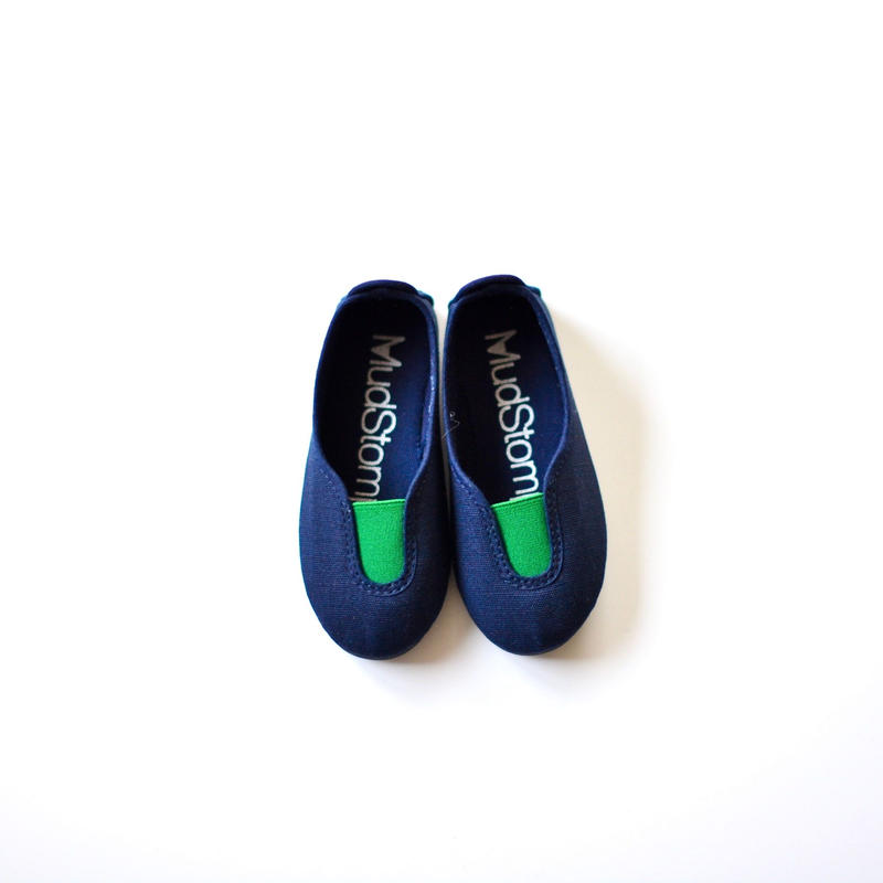 【 La Cadena 2019SS 】 GIMNASIA - Panel Slip On / NAVY x GREEN / 14〜18.5cm