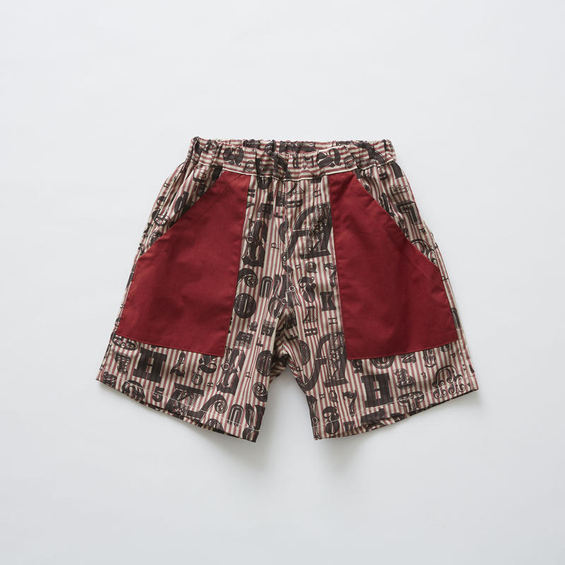 【 eLfinFolk 2019SS 】elf-191F16 stripe×alphabetic print shorts / burgundy