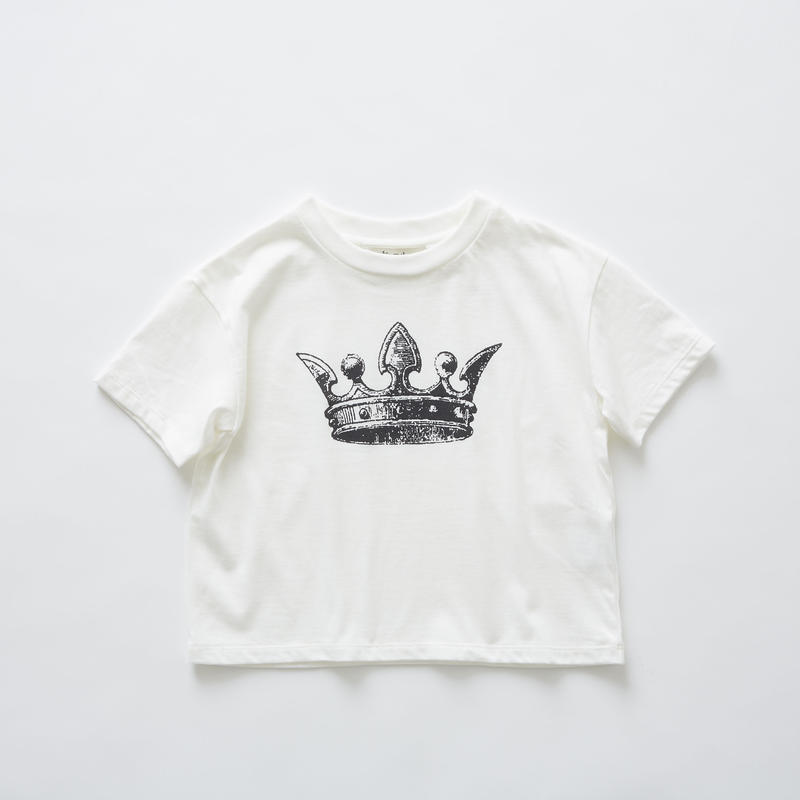 【 eLfinFolk 2019SS 】elf-191J01 crown T-shirts / white