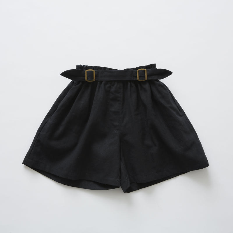 【 eLfinFolk 2019SS 】elf-191F31 linen canvas culotte pants / black