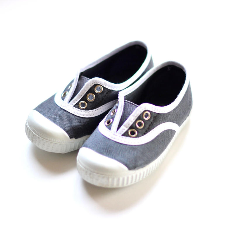 【 La Cadena 2019SS 】 INGLES ELASTICO P  - White Trim  / DARK GREY / 14〜18.5cm