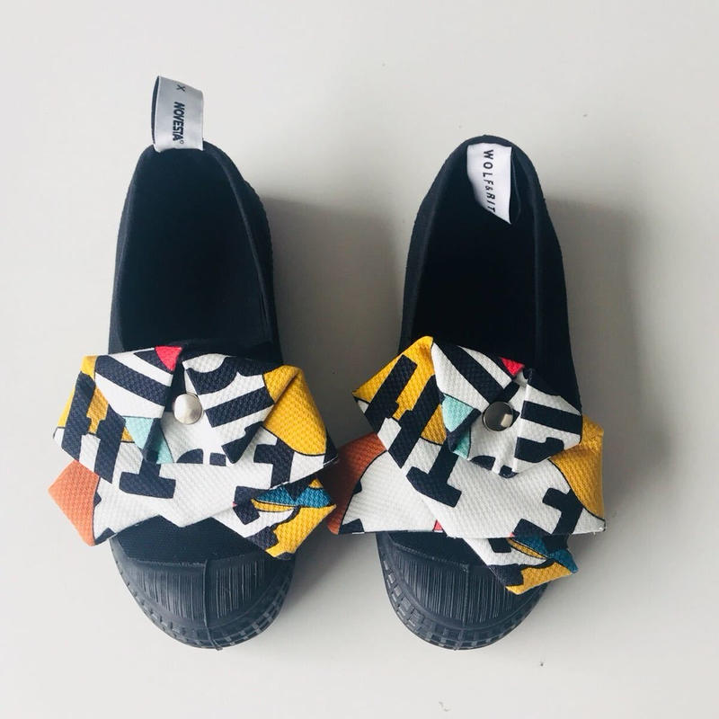 【 WOLF & RITA 2019SS 】SLIP ON BOW KID WOLF & RITA SS19 / ALL BLACK WITH 2 DETACHABLE W&R FABRIC BOWS