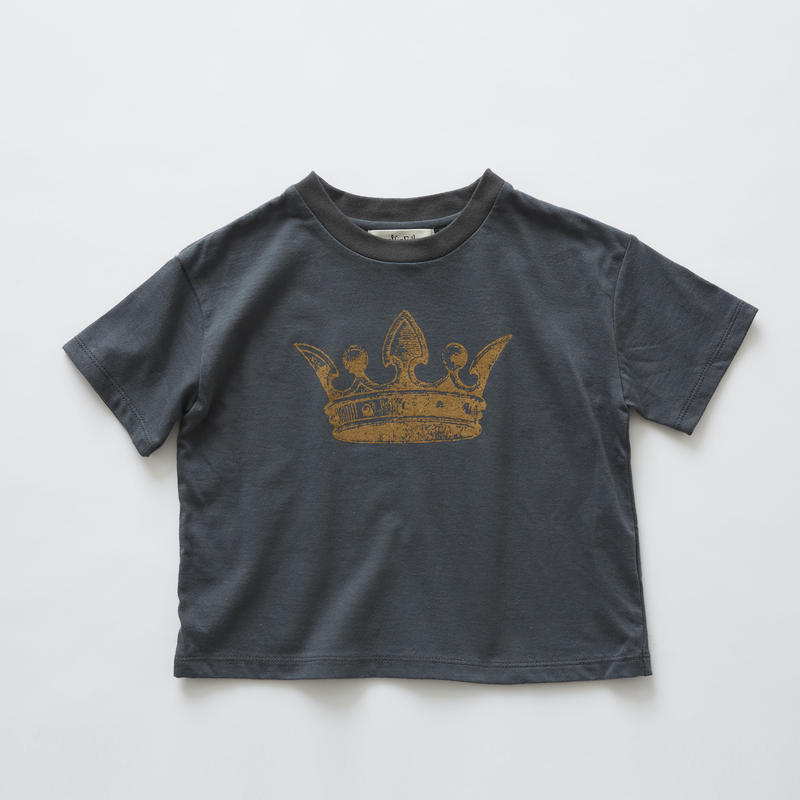【 eLfinFolk 2019SS 】elf-191J02 crown T-shirts / charcoal