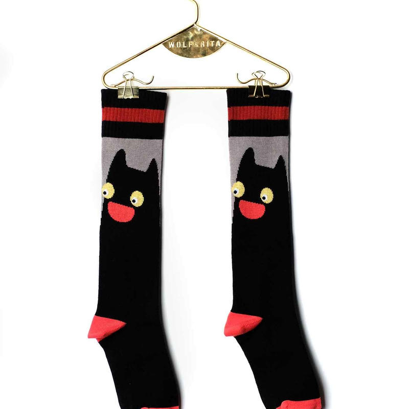 【 WOLF&RITA BABY 2018AW 】 BABY LONG SOCKS / BLACK CAT