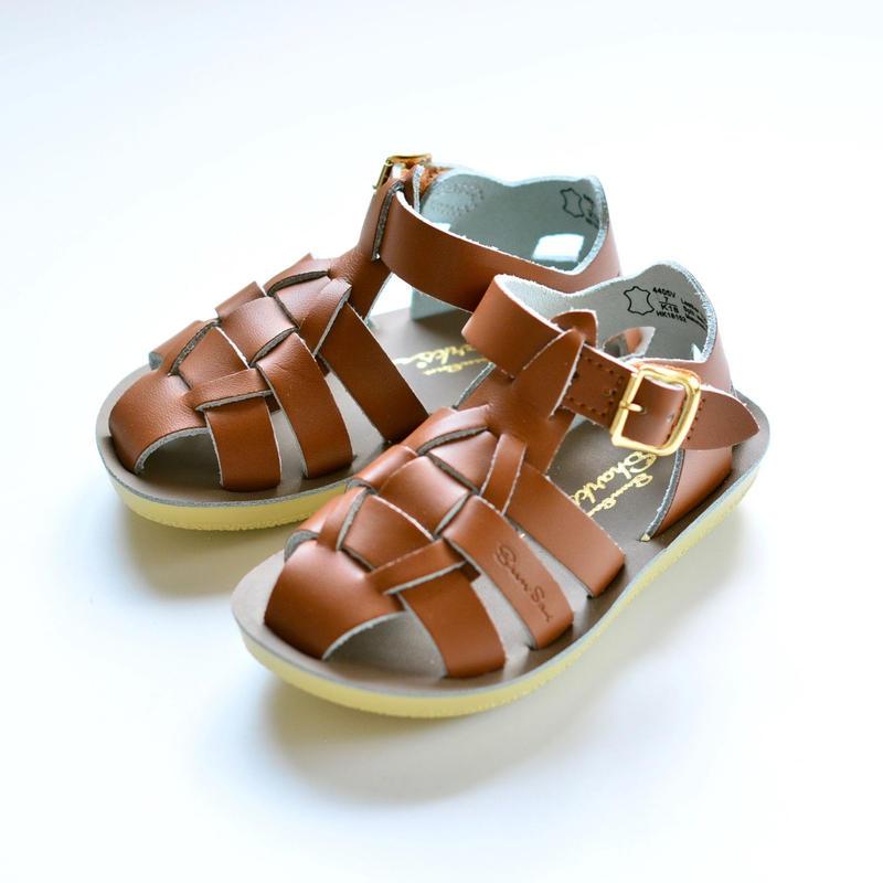 """【 Saltwater Sandals 19SS】 海でも履けるレザーサンダル  / ソルトウォーターサンダル """"Shark"""" / タン / 13 - 19cm"""