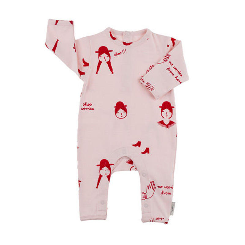 【tiny cottons 2017AW】AW17-031 no-worry dolls onepiece / pale pink / red / 6-12m