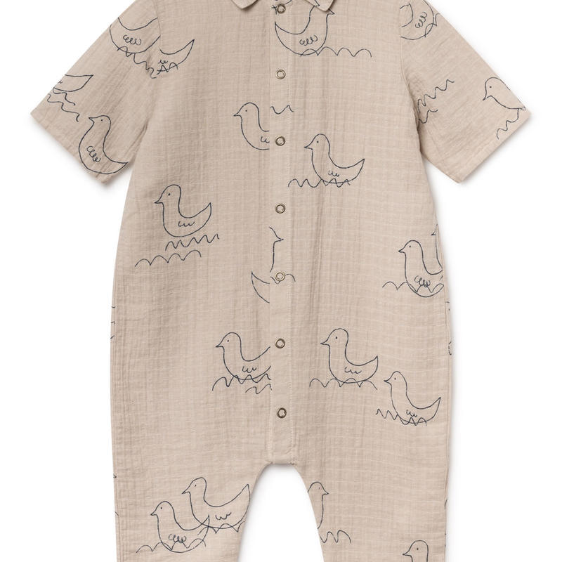 【 Bobo Choses 2019SS 】119209 Geese Buttons Playsuit / 6-12m