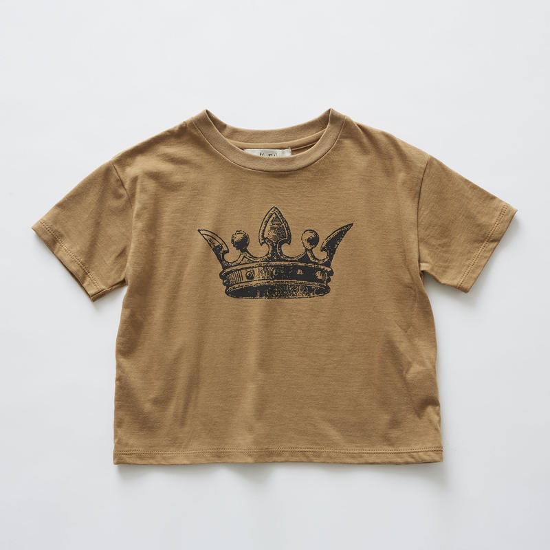 【 eLfinFolk 2019SS 】elf-191J01 crown T-shirts / camel