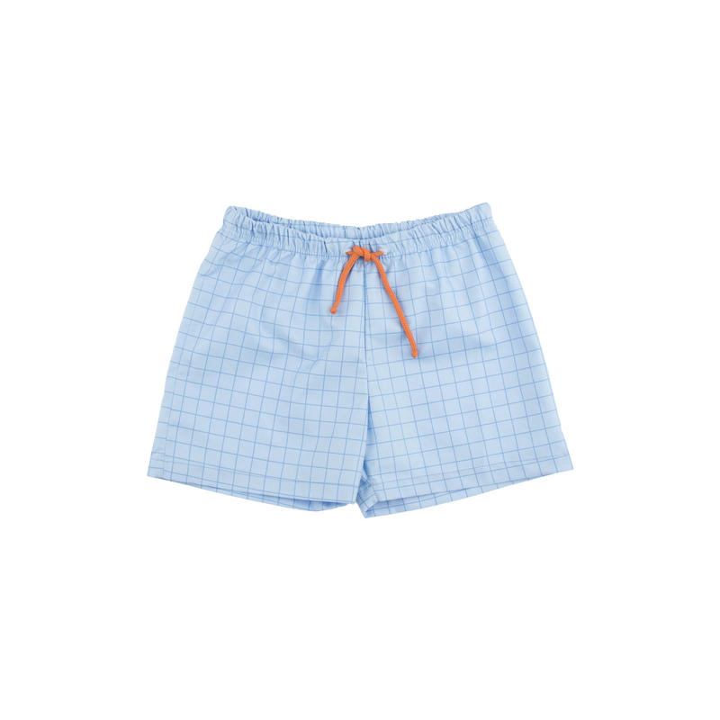 【 tiny cottons 2018SS 】SS18-308 grid trunks / light cerulean blue/cerulean blue